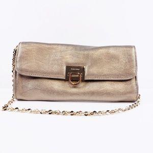 Ivanka Trump Gold Textured Clutch Shoulder Bag